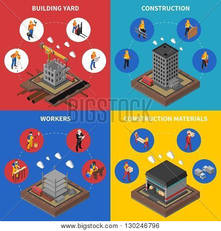 Construction Isometric Concept. Builder Icons Set. Building Industry Vector Illustration. Construction Industry Symbols. Construction Design Set.Construction  Elements Collection.
