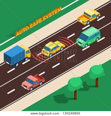 Auto Safe System Concept. Safe System Information. Safe SystemMIsometric Illustration. Car Safe System Vector.