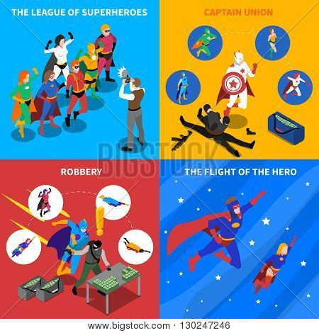 Superhero Isometric Concept. Superhero Icons Set. Superhero Vector Illustration. Superhero People Symbols.Superhero  Design Set.  Superhero Elements Collection.