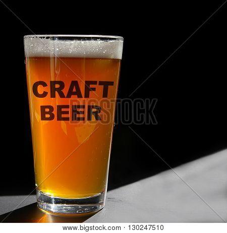 Pint glass of Craft Beer backlit on black