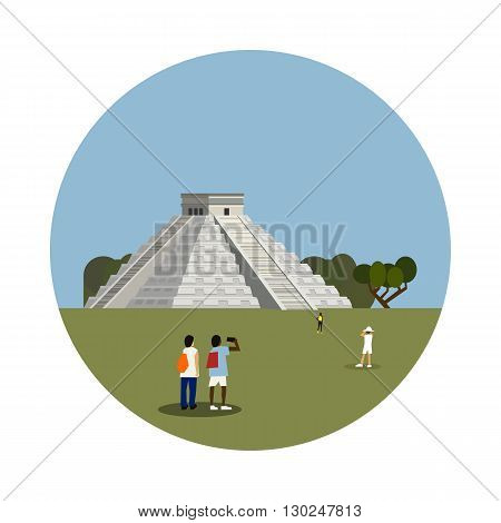 Aztec pyramid icon isolated on white background. Vector illustration for famous mexico building design. Travel ancient postcard. Classic mayan landmark symbol. Touristic mexican ruin architecture
