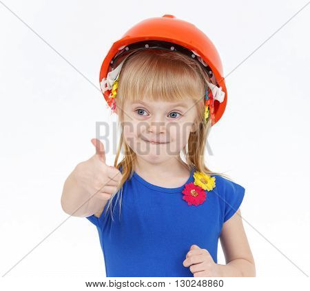 Funny Little Blond Girl With Two Tails In Orange Helmet Showing Big Thumb