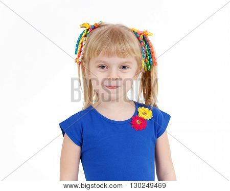Portrait Of Funny Little Blond Girl With Two Tails On White Background