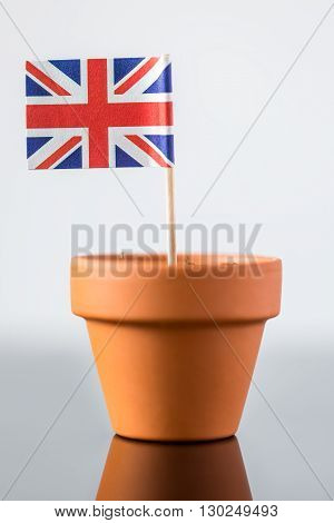 Plant Pot With British Flag