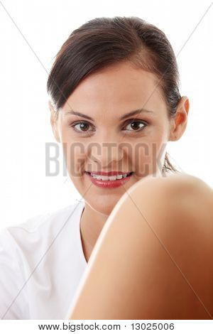 Female gynecologist doctor, isolated on white background