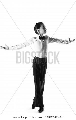 boy in the active ballroom or classical dance on white background.
