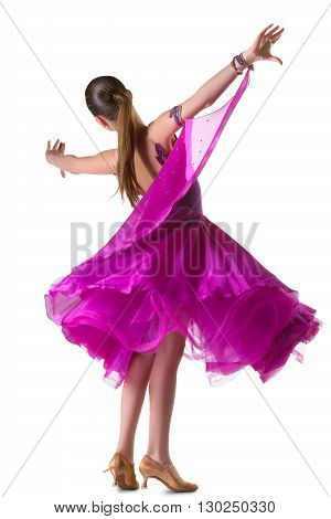 girl in the active ballroom or latina dance on white background.