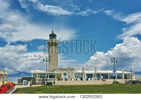 Panoramic view of Lighthouse in Patras, Peloponnese, Western Greece