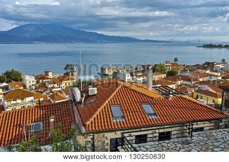 amazing panorama of Nafpaktos town, Western Greece