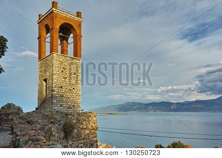 Last Rays of sun over Clock tower in Nafpaktos town, Western Greece