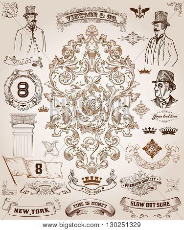 Victorian, scrollwork Design Elements. Premium Quality set