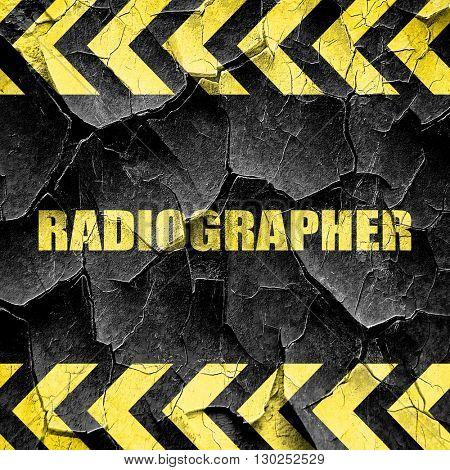 radiographer, black and yellow rough hazard stripes