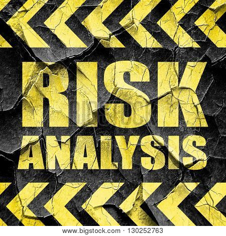 risk analysis, black and yellow rough hazard stripes