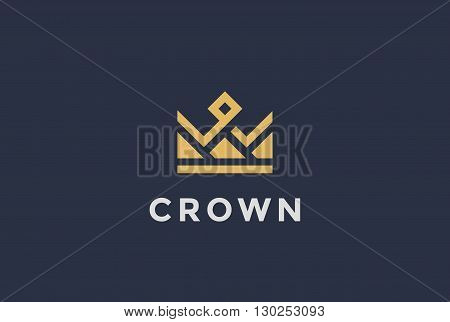 Geometric Crown abstract Logo vector vintage Logotype icon.