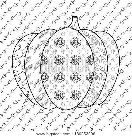 Pumkin adult coloring book page. Whimsical line art vector illustration.