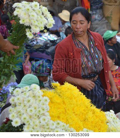 CHICHICASTENANGO GUATEMALA APRIL 29 2016: Portrait of a Mayan woman. The Mayan people still make up a majority of the population in Guatemala,