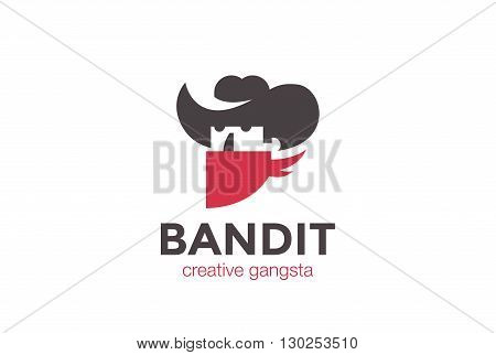 Cowboy in Hat Bandit Logo vector Negative space Gangster icon.