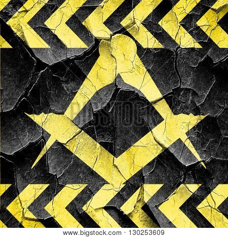 Masonic freemasonry symbol, black and yellow rough hazard stripe poster