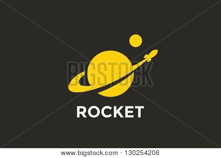 Rocket Planet Logo abstract vector Negative space Startup icon