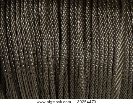 Steel wire rope in the bobbin closeup stock photo