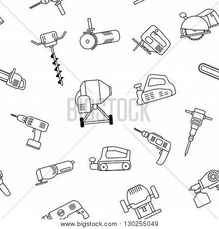 Seamless pattern of repair tool icons. Home repair signs. Worker tools. Isolated on white background. Tools background. Vector illustration.