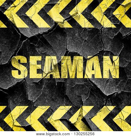 seaman, black and yellow rough hazard stripes