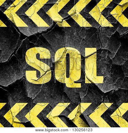 sql, black and yellow rough hazard stripes