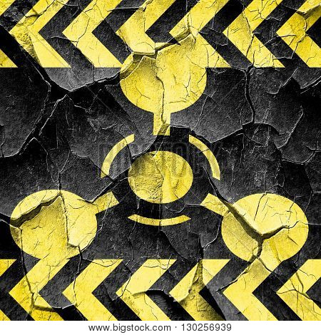 Chemical weapon sign, black and yellow rough hazard stripes