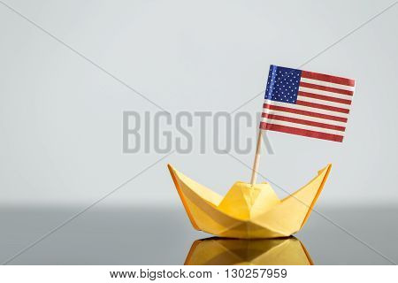Paper Ship With Usa Flag