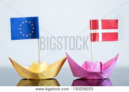 Paper Ship With Danish And European Flag