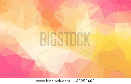 Low poly background design in geometric pattern. polygon wallpaper in origami style. polygonal texture illustration in color light yellow and orange and pink