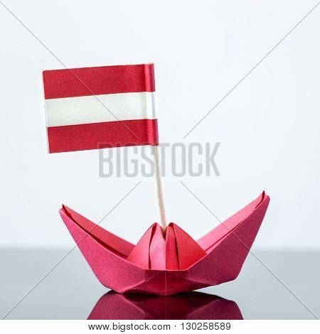 Paper Ship With Austrian Flag