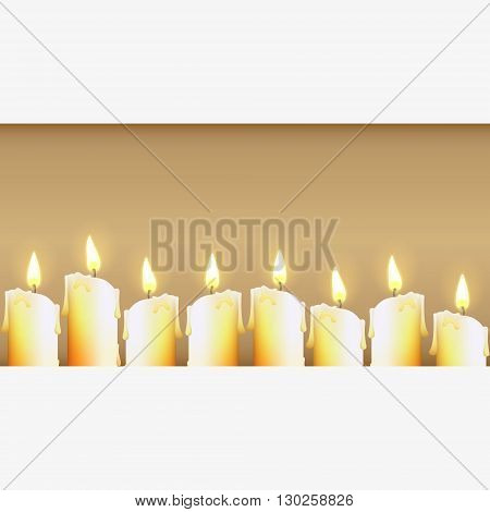 Candles at dark. Vector illustration. Candles banner. Candles background. Vector illustration of yellow candles. Banner.