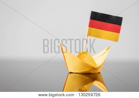 Paper Ship With German Flag