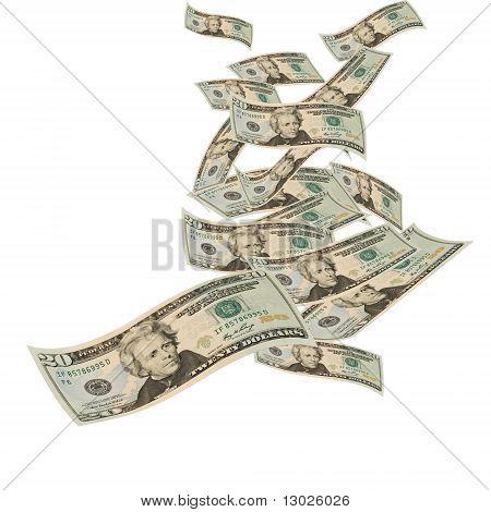 Twenty dollar bills floating on a white background floating money poster