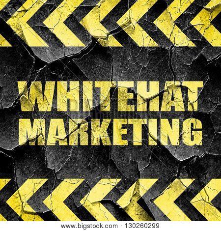 whitehat marketing, black and yellow rough hazard stripes