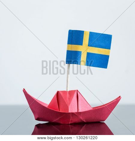 Paper Ship With Swedish Flag