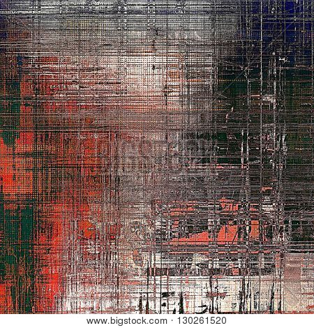 Tinted vintage texture, aged decorative grunge background with traditional antique elements and different color patterns: green; gray; red (orange); black