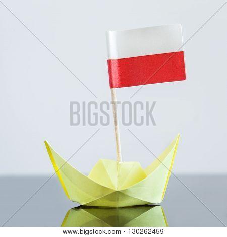 Paper Ship With Polish Flag