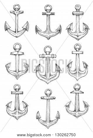 Retro nautical heraldic symbols of sketched admiralty pattern anchors with arrow shaped flukes and large chain rings. Use as naval badge or sailing club design