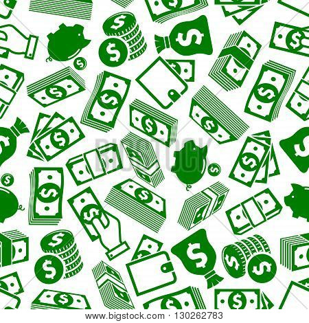 Money and financial savings background pattern for richness and business success themes design with seamless green and white silhouettes of dollar bills and coins stacks, wallets and hands with money, piggy banks and money bags