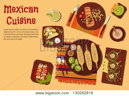 Mexican barbecue dishes for outdoor dinner icon with grilled corn on the cob,  beef steak carne asada and vegetarian tacos with sour cream sauce, chicken enchiladas and chilli bean stuffed peppers, guacamole with nachos and refreshing drinks. Flat style