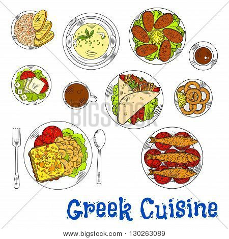 Grilled greek sardines, squid and mussels sketch icon served with pork gyros on pita bread topped with vegetables and tzatziki, flambe goat cheese with fries and plate of feta, fish roe salad tarama and lemon chicken soup, coffee drinks