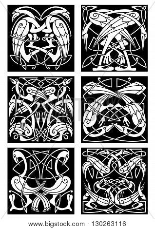 Ancient tribal patterns of fantastic birds with black and white ethnic celtic knot ornament of entwined herons, storks and cranes. Great for tattoo, t-shirt print or vintage embellishment design poster