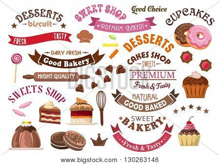 Delicious chocolate pastries and desserts retro icons for confectionery and sweet shop design with tiered cakes and pudding, cupcakes and donuts, cookies, candies and lollipops, ribbon banners and stars