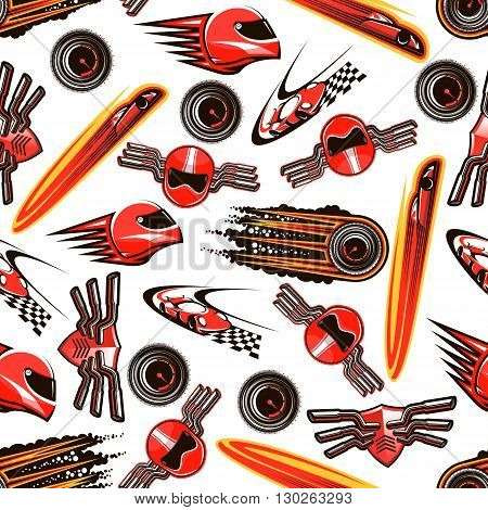 Motosport seamless pattern background of red racing cars with speed motion trails, flaming speedometers with black smoke, racing helmets and shields with exhaust pipes on both sides. Sport theme design usage