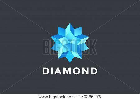 Diamond Blue Star abstract Logo design vector Gem Jewelry symbol