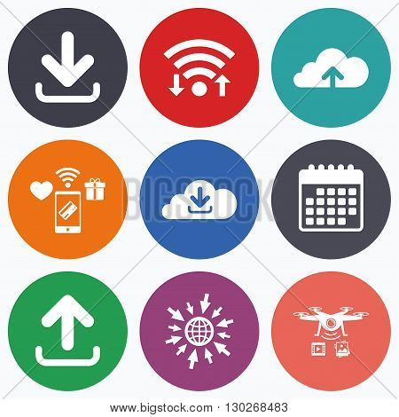 Wifi, mobile payments and drones icons. Download now icon. Upload from cloud symbols. Receive data from a remote storage signs. Calendar symbol.