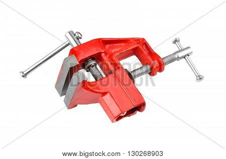 Mechanical hand vise clamp isolated on white background poster