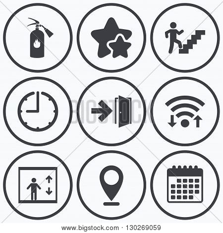 Clock, wifi and stars icons. Emergency exit icons. Fire extinguisher sign. Elevator or lift symbol. Fire exit through the stairwell. Calendar symbol.